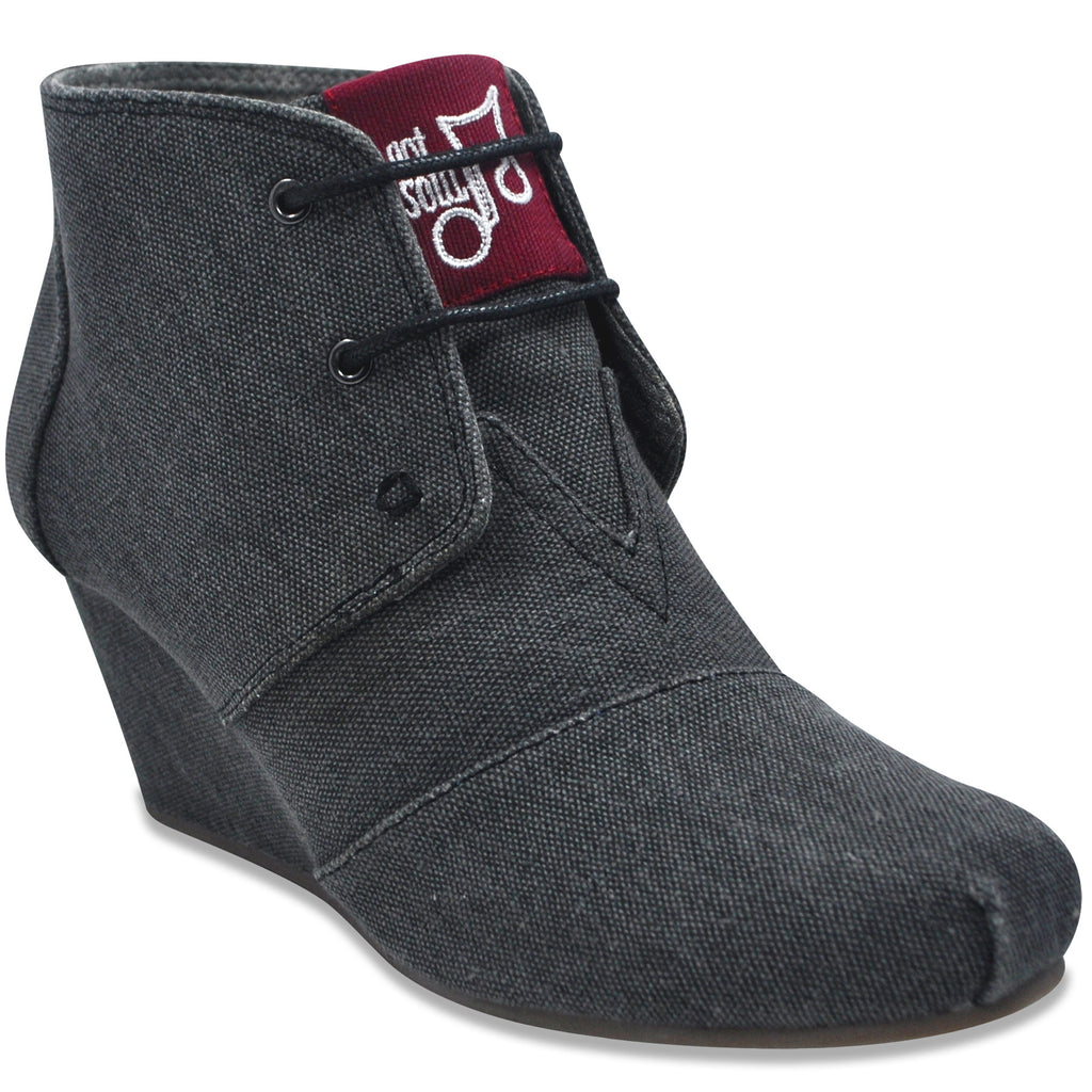Lace-up Wedge in Charcoal (Canvas)