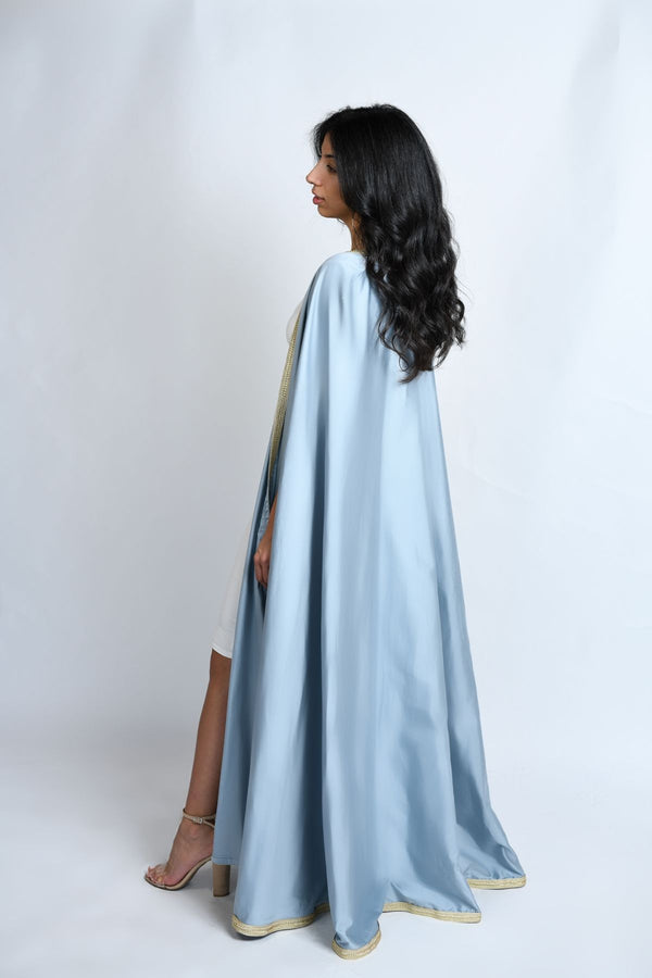 Arabian Abaya Cape sky blue. Dress. Ramadan dress. Elegant Gown