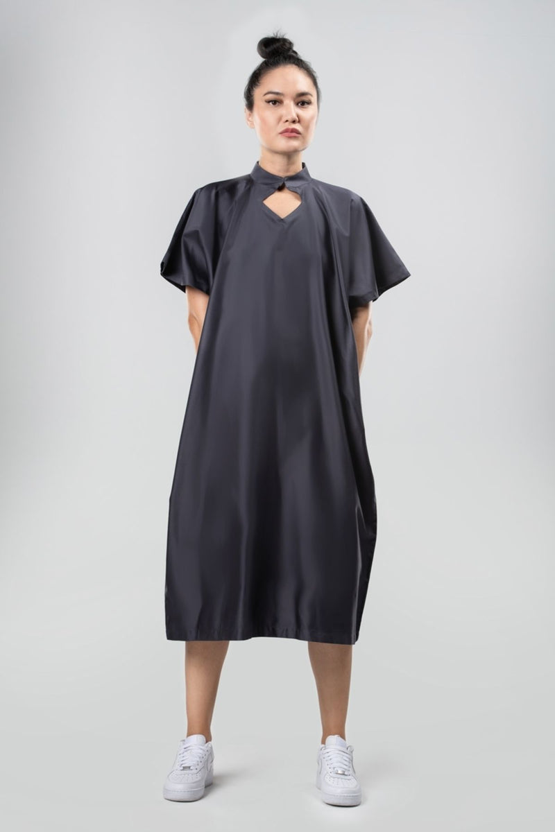 Collared Dress Sustainable Fashion Organic Egyptian Cotton Navy Blue