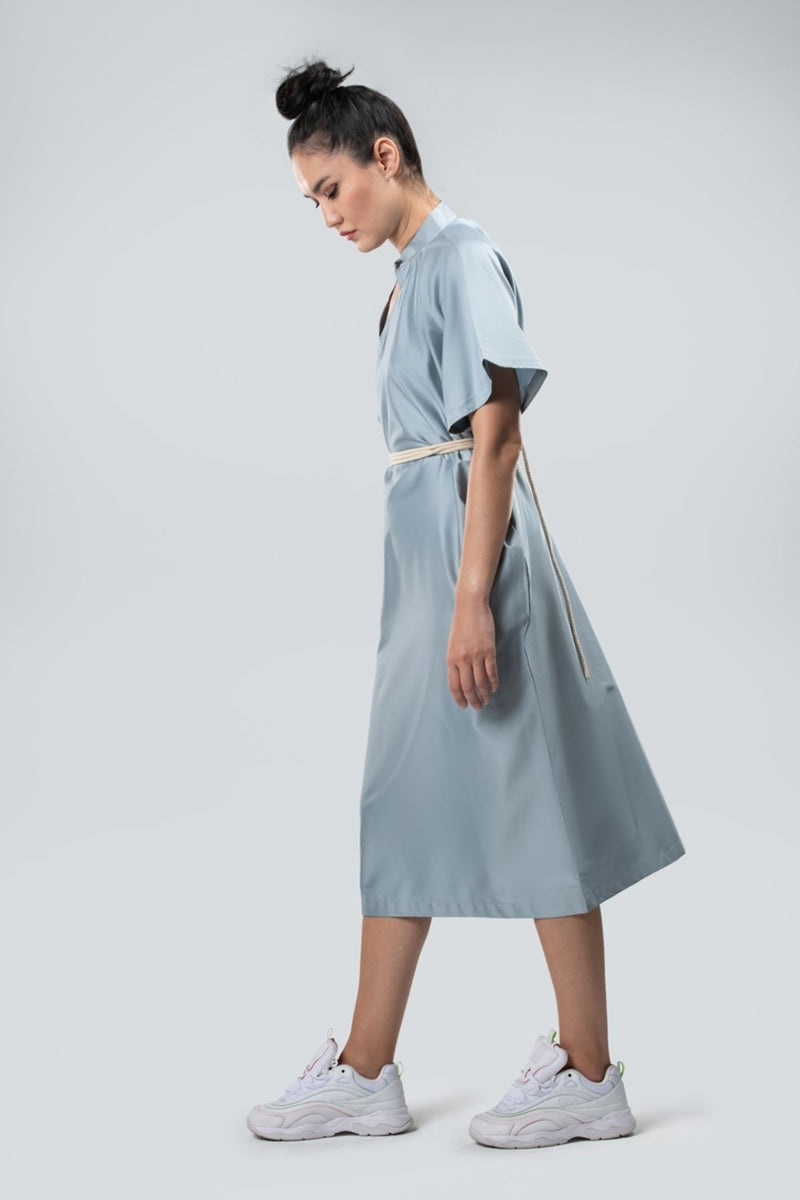 Collared Dress Sustainable Fashion Organic Egyptian Cotton Sky Blue