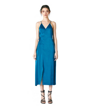 Korean Style Slit Dress - Blue / XS - Dresses