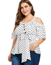 Plus Size Cold Shoulder Polka Dot Blouse - Tops