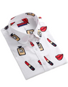 Plus Size Collared Lipstick Shirt - White / 2XL - Tops