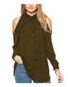 Plus Size Collared Offshoulder Top - Brown / L - Tops