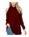 Plus Size Collared Offshoulder Top - Burgundy / L - Tops