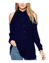 Plus Size Collared Offshoulder Top - Navy Blue / L - Tops