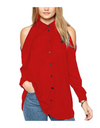 Plus Size Collared Offshoulder Top - Red / L - Tops