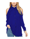 Plus Size Collared Offshoulder Top - Royal Blue / L - Tops