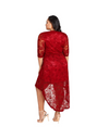Plus Size Dip Hem Lace Wrap Dress - Dresses
