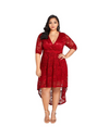 Plus Size Dip Hem Lace Wrap Dress - Burgundy / 2XL - Dresses