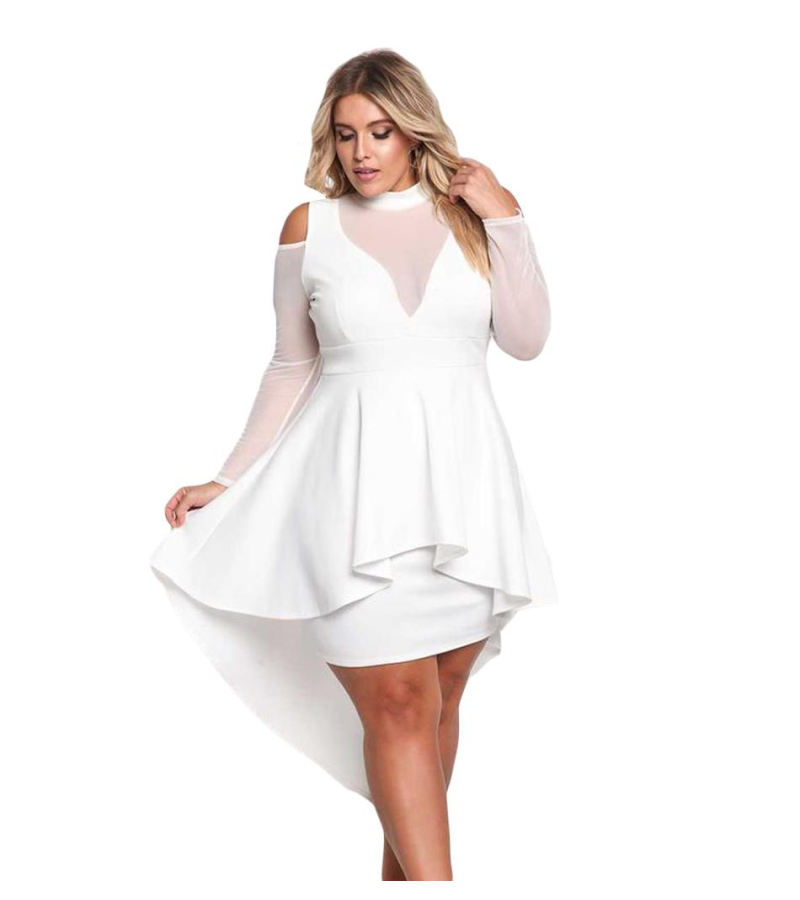 Plus Size Mesh Peplum Dress