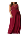 Plus Size Mesh Sweetheart Maxi Dress - Red / 4XL - Dresses