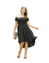 Plus Size Off-shoulder Flare Hem Dress - Black / XL - Dresses