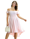 Plus Size Off-shoulder Flare Hem Dress - Pink / XL - Dresses