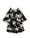Plus Size Off-shoulder Floral Top - Black / 3XL - Tops