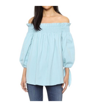 Plus Size Offshoulder Tie Sleeve Top - Blue / 3XL - Tops