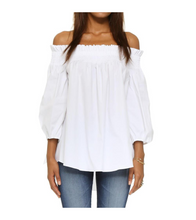 Plus Size Offshoulder Tie Sleeve Top - White / 3XL - Tops