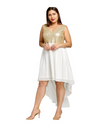 Plus Size Party Hem Dress - Gold / XL - Dresses