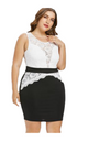 Plus Size Sleeveless Lace Bust Monochrome Dress