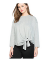 Plus Size Tie Front Top - Gray / 3XL - Tops