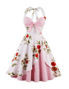 Plus Size Vintage Floral Dress - Pink / 2XL - Dresses