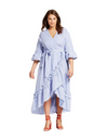 Plus Size Waterfall Hem Striped Dress - Dresses