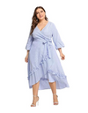 Plus Size Waterfall Hem Striped Dress - XL - Dresses