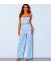 Summer Floral Crochet Jumpsuit - S / Blue - Two Piece