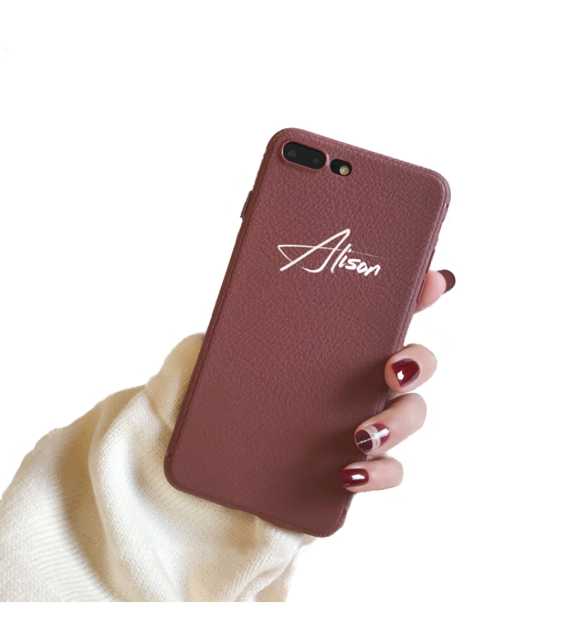 Synthetic Leather Personalized Iphone Case Brown Iphone 6