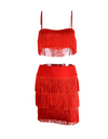 Tassel Two-Piece Dress - Red / S / 3 Layer - Dresses