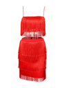 Tassel Two-Piece Dress - Red / S / 4 Layer - Dresses