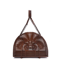 Teak Wood Bamboo Top Handle Bag - Teak Wood - Bags