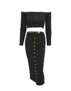 Two Piece Studded Bodycon Dress - Black / L - Dresses