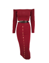 Two Piece Studded Bodycon Dress - Burgundy / L - Dresses