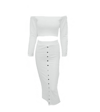 Two Piece Studded Bodycon Dress - White / L - Dresses