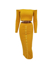 Two Piece Studded Bodycon Dress - Yellow / L - Dresses