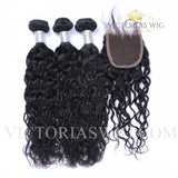 3 Bundles with Lace Closure Ocean Wave Human Hair