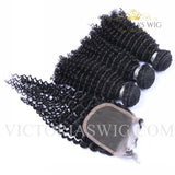 3 Bundles with Lace Closure Kinky Curly Human Hair