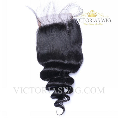 4X4 Inch Top Lace Closure Human Hair Loose Wave