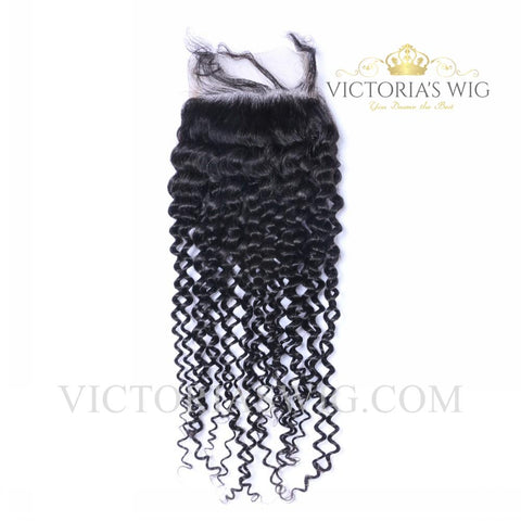 4X4 Inch Top Lace Closure Human Hair Kinky Curly