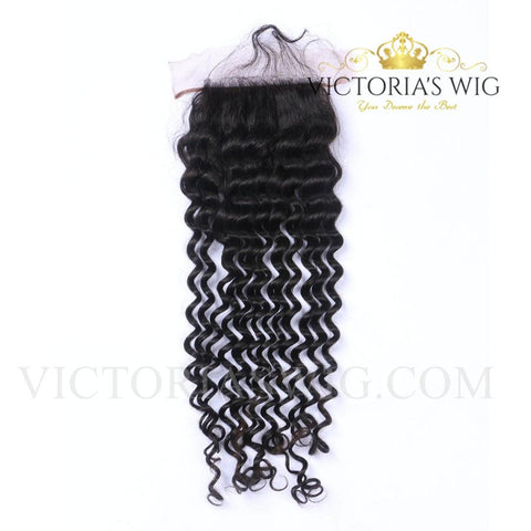 4X4 Inch Top Lace Closure Human Hair Deep Wave