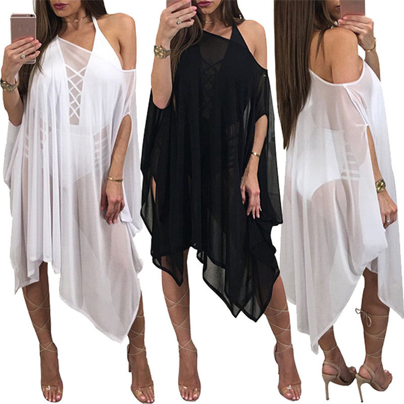 Solid Color Women Chiffon Cover Up Beach Dress