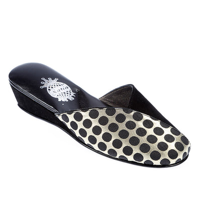 Women Black Spotted Silver Slipper