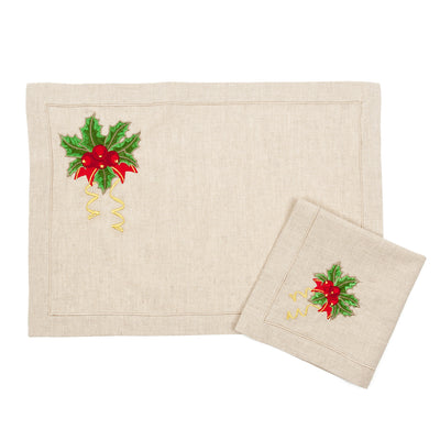 New Year Cream Color Place Mat and Napkin Set