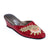 Women Wedge Heel Embroidered Satin Claret Red Slipper