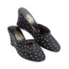 Women Wedge Heel Black Wrinkled Leather White Spotted Slipper