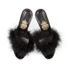 Women High Heeled Feather Slipper