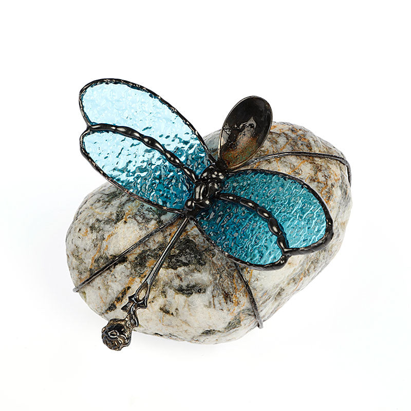 Blue Dragonfly on Stone