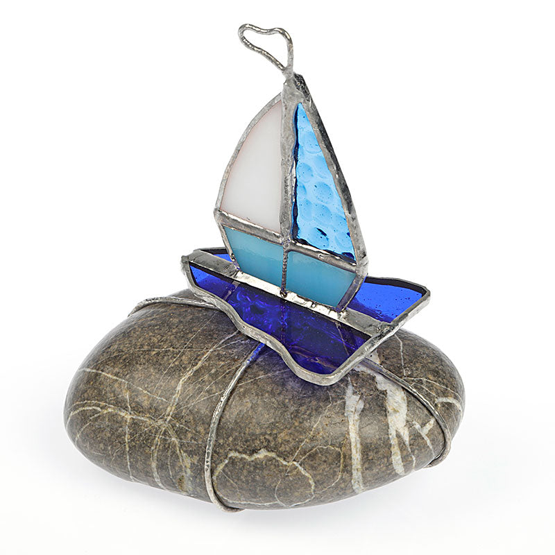 Blue Sailboat on Stone