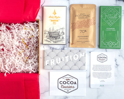 December Chocolate Subscription Box with bars from Dick Taylor, Potomac, Ritual Chocolate, and Fruition Chocolate